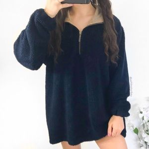 vintage navy blue fuzzy quarter zip sweater